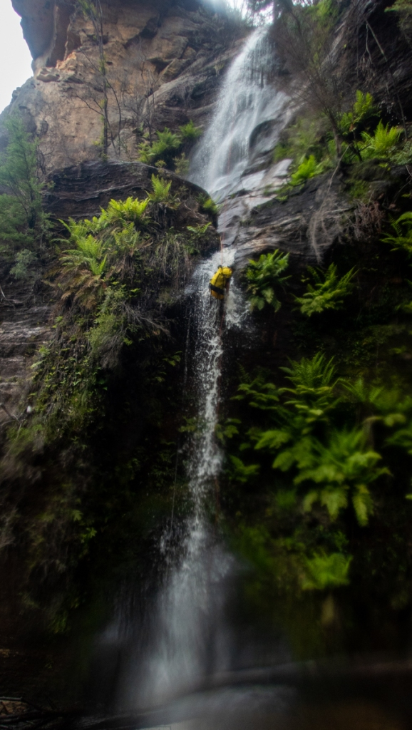 Dropping in. It's not huge flow but in blue mts canyoning terms its cool
